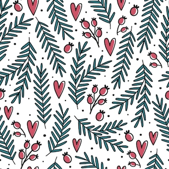 Christmas seamless pattern with firs and berries