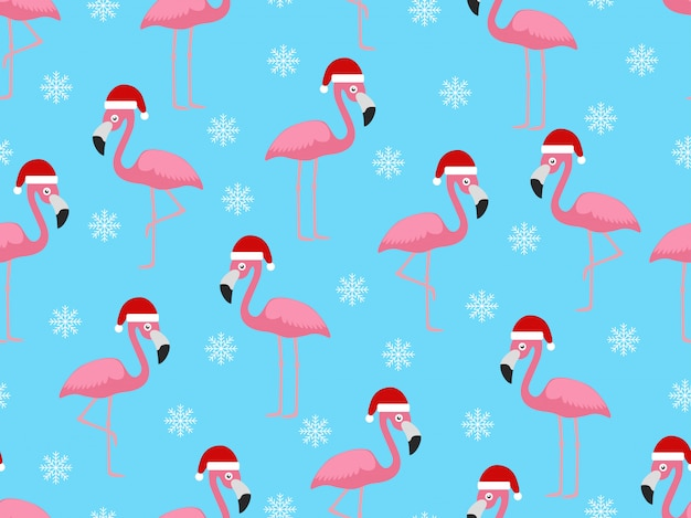 Christmas seamless pattern with flamingo santa
