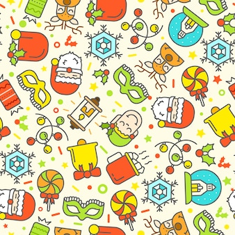 Christmas seamless pattern with flat icons.