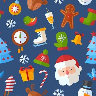Christmas seamless pattern with flat santa, deer, gingerbread cookie