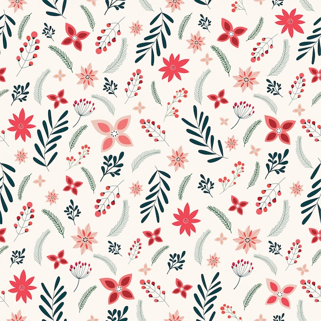 Christmas seamless pattern with floral, decorative elements