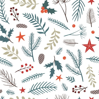 花の要素とクリスマスのシームレスなパターン