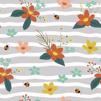 Christmas seamless pattern with floral and ladybug on strips background,vector illustration
