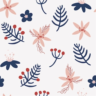 꽃, 열매, 잔가지와 함께 크리스마스 원활한 패턴입니다. 휴일 겨울 장식 배경입니다. 벽지, 의류, 포장 초대장, 포스터를 위한 창의적인 스칸디나비아 배경.