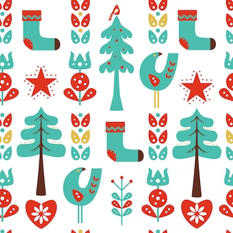 Christmas seamless pattern with flowers, birds and socks.