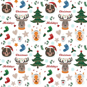 Christmas seamless pattern with forest animals