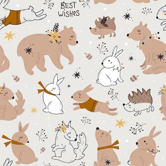 Christmas seamless pattern with forest animals.
