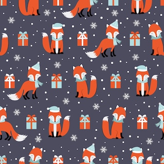 Christmas seamless pattern with fox