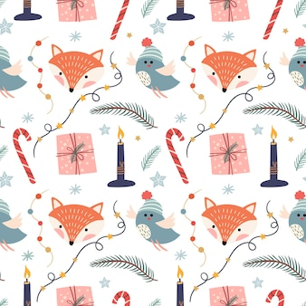Christmas seamless pattern with foxes, birds, candles and ornaments