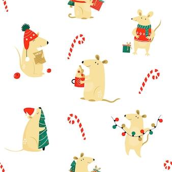 재미 있는 쥐와 크리스마스 완벽 한 패턴입니다. 포장지, 장식, 연하장용. 중국 새 해 개념
