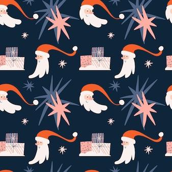 Рождественский фон с забавными головами санта-клауса и звездами на синем фоне