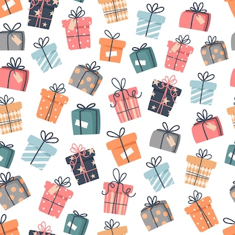 Christmas seamless pattern with gifts in flat style