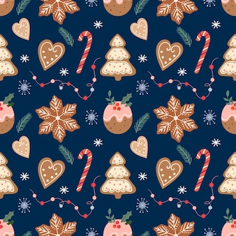 ジンジャーブレッド、クリスマスの伝統的なクッキーとキャンディー、冬のデザインとクリスマスのシームレスなパターン