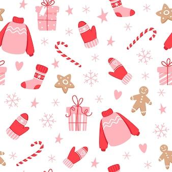 ジンジャーブレッドクッキーと新年のキャンディーとクリスマスのシームレスなパターン