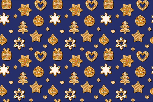 Christmas seamless pattern with gingerbread cookies on a blue background. homemade sweets in the form of a gingerbread man, a christmas tree, toys and snowflakes.