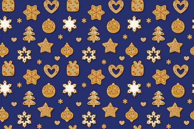 青い背景にジンジャーブレッドクッキーとクリスマスのシームレスなパターン。ジンジャーブレッドマン、クリスマスツリー、おもちゃ、雪片の形をした自家製のお菓子。