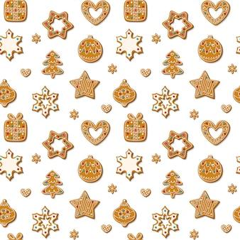 白い背景の上のジンジャーブレッドクッキーとクリスマスのシームレスなパターン。ジンジャーブレッドマン、クリスマスツリー、おもちゃ、雪片の形をした自家製のお菓子。 ..