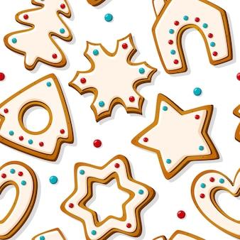 白い背景の上のジンジャーブレッドクッキーとクリスマスのシームレスなパターン。家とクリスマスツリー、星と雪の結晶とハートの形をした自家製ビスケット。ベクトルイラスト
