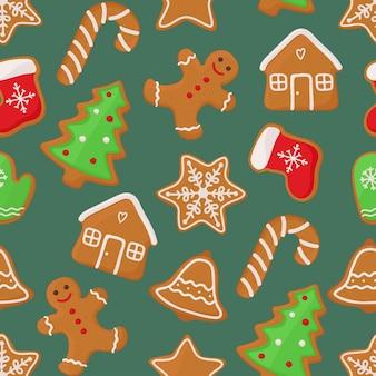 ジンジャーブレッドクッキーとクリスマスのシームレスなパターンベクトル分離イラスト