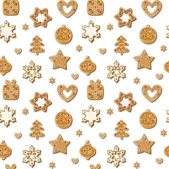Christmas seamless pattern with gingerbread cookies on a white background. homemade sweets in the form of a gingerbread man, a christmas tree, toys and snowflakes. ..