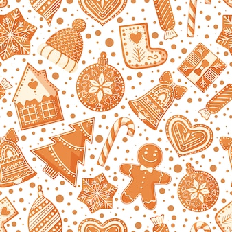 Christmas seamless pattern with gingerbread cookies.