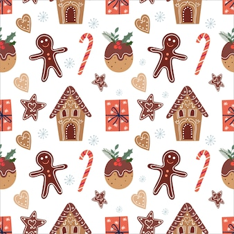 Christmas seamless pattern with gingerbread and gifts, winter design