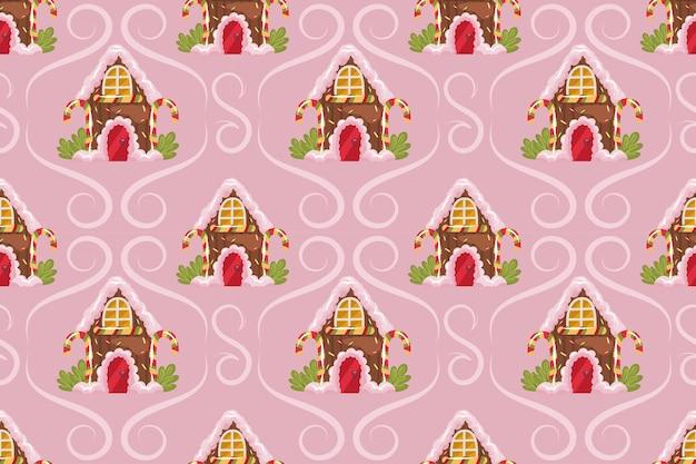 ジンジャーブレッドハウスと粉っぽい背景のカールとクリスマスのシームレスなパターン。クリスマスのジンジャーブレッドは、お菓子、ロリポップ、クリームでおもてなしします。ベクトルイラスト