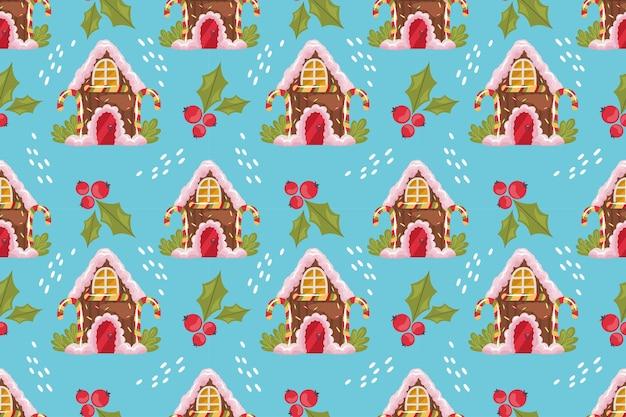ジンジャーブレッドの家と青い背景のヒイラギとクリスマスのシームレスなパターン。クリスマスのジンジャーブレッドは、お菓子、ロリポップ、クリームで扱います。ベクトルイラスト。