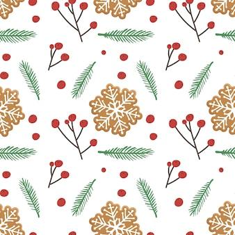 ジンジャーブレッドの雪の結晶の形のクッキーとトウヒの小枝の赤いベリーとクリスマスのシームレスなパターン
