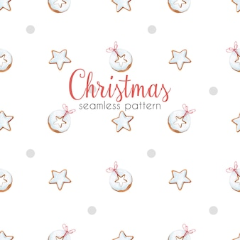 Christmas seamless pattern with gingerbread. watercolor pattern