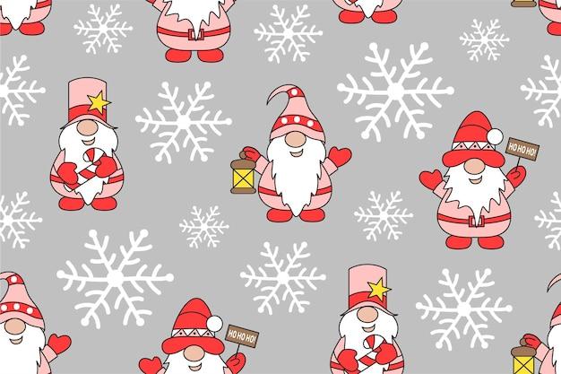 ノームと雪片とクリスマスのシームレスなパターン冬の休日かわいい背景
