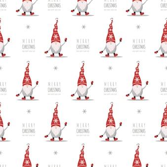 Рождественский фон с гномами в красных шляпах. симпатичные скандинавские эльфы.