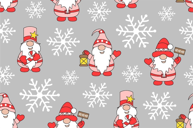 Christmas seamless pattern with gnomes and snowflakes winter holidays cute background