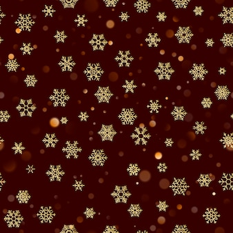 Christmas seamless pattern with gold snowflakes on dark brown red background. holiday  for christmas and new year decoration.