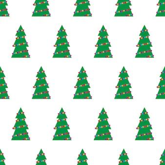 カラフルなおもちゃ、ボール、花輪と緑のクリスマスツリーとクリスマスのシームレスなパターン。ベクトルイラスト