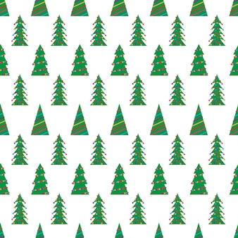 화려한 장난감, 공, 화환이 있는 녹색 크리스마스 나무와 함께 크리스마스는 매끄러운 패턴입니다. 벡터 일러스트 레이 션