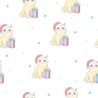 Christmas seamless pattern with grey cat with santa claus hat