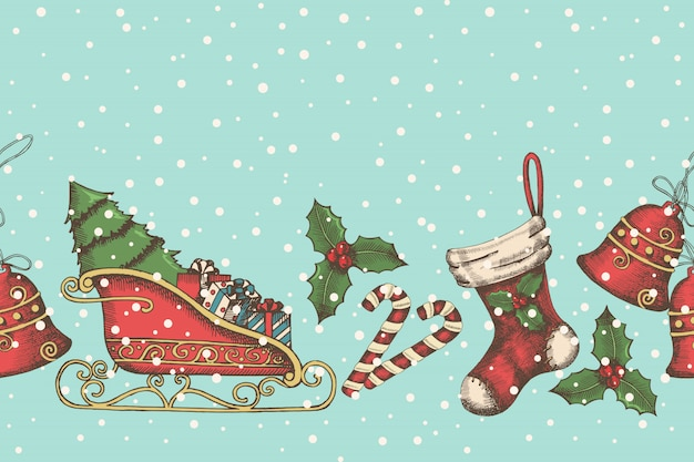Christmas seamless pattern with hand drawn bells, santa's sleigh, candy, holly and sock.