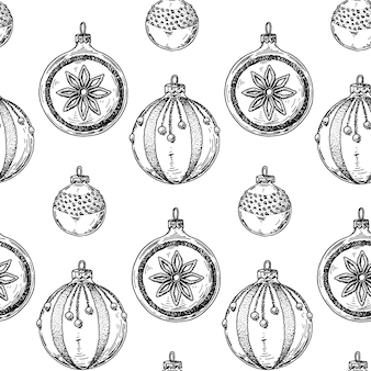 Christmas seamless pattern with hand drawn christmas tree toys