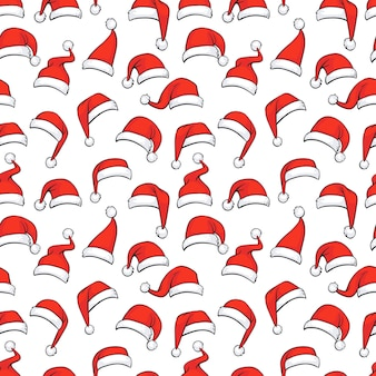 Christmas seamless pattern with hand drawn red santa hats.