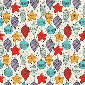 Christmas seamless pattern with hand drawn symbols