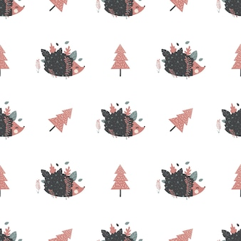 Christmas seamless pattern with hedgehogs