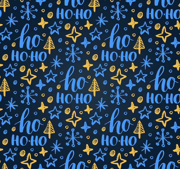 Christmas seamless pattern with ho ho-ho lettering and new year chalk drawing.