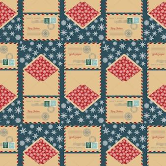 휴일 봉투 벡터 일러스트와 함께 크리스마스 원활한 패턴
