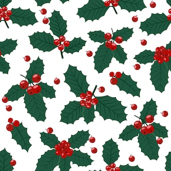 Christmas seamless pattern with holly berries background