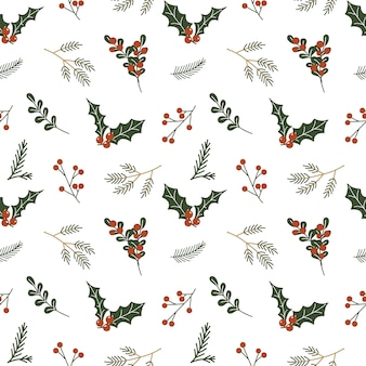 Christmas seamless pattern with holly berries and leaves