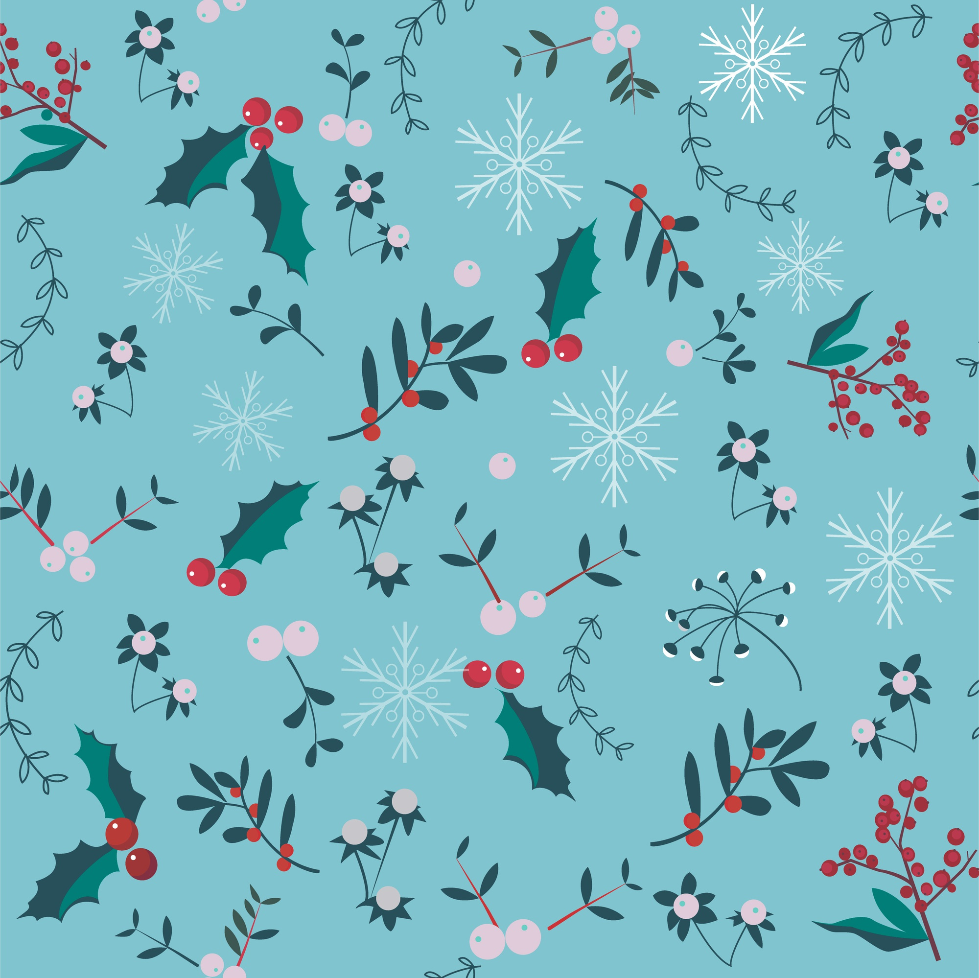 Christmas seamless pattern with holly berries, snowflakes, leaves.