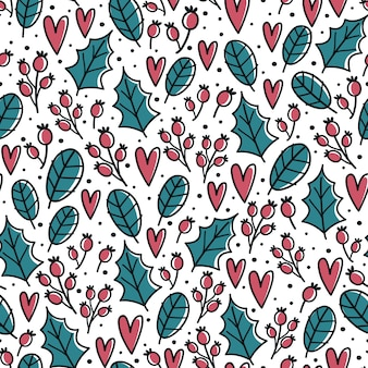 Christmas seamless pattern with holly leaves and berries