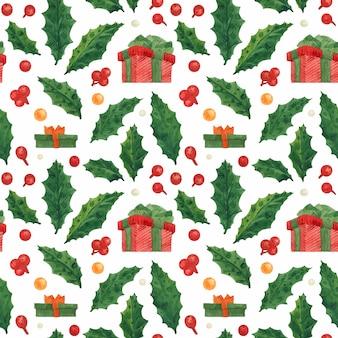 Christmas seamless pattern with holly and red gift box