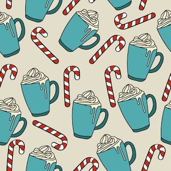 Christmas seamless pattern with hor chocolate and candy cane